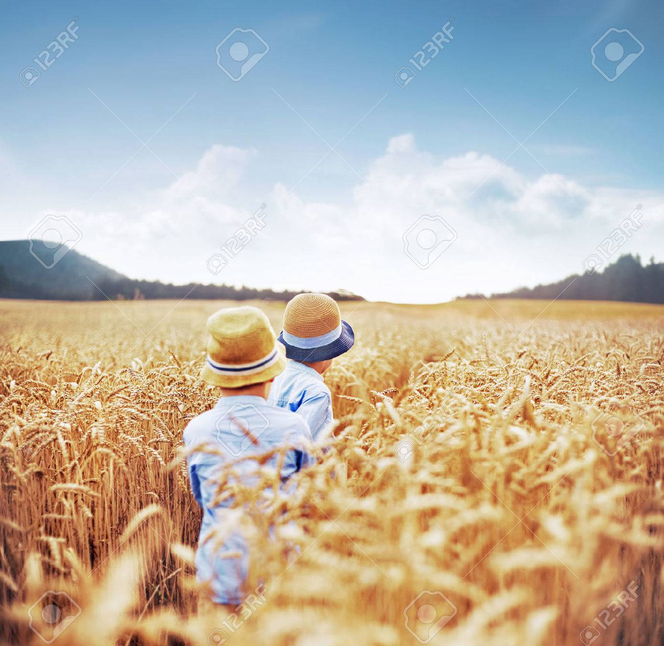 Due fratelli tra campi di cereali Archivio Fotografico - 47728384