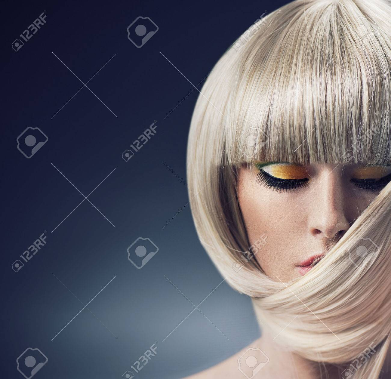Portrait of a blond woman with trendy coiffure Archivio Fotografico - 50899856