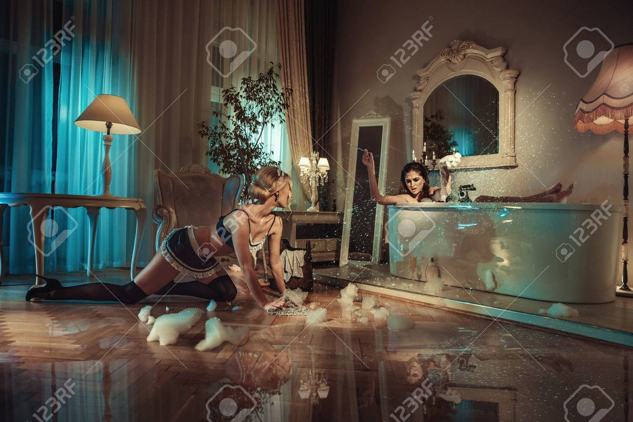 Conceptual picture of a customer yelling on a sensual maid - 73657588
