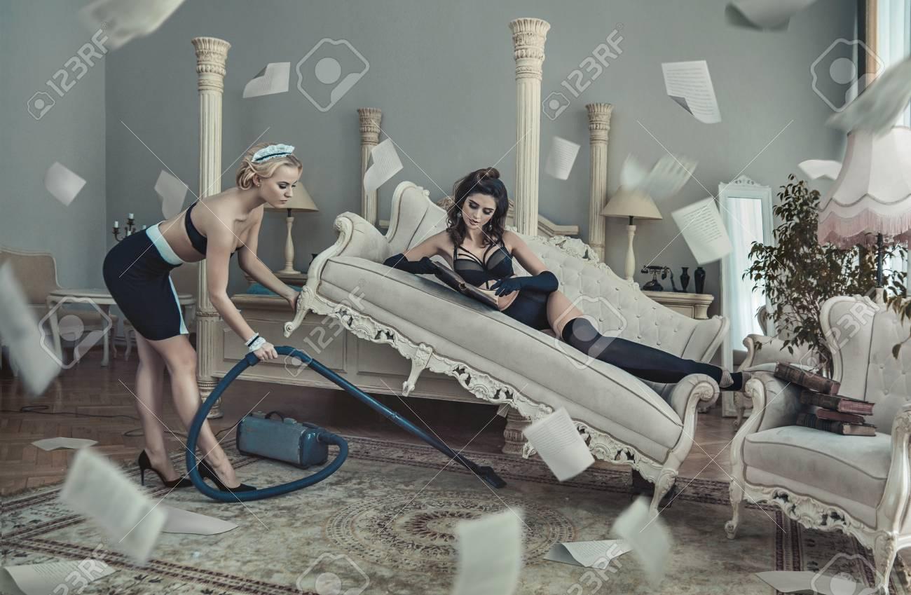 Conceptual photo of the sensual hotel customer and pretty maid - 73657698