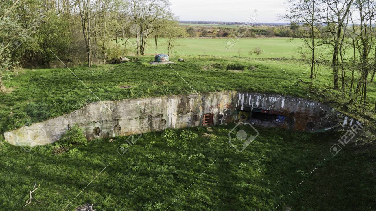 MRU World War II fortification bunker, Pniewo, near Miedzyrzecz, Poland. Entrance to the underground corridor system. German militarized zone from World War II. Aerial view. - 141148251