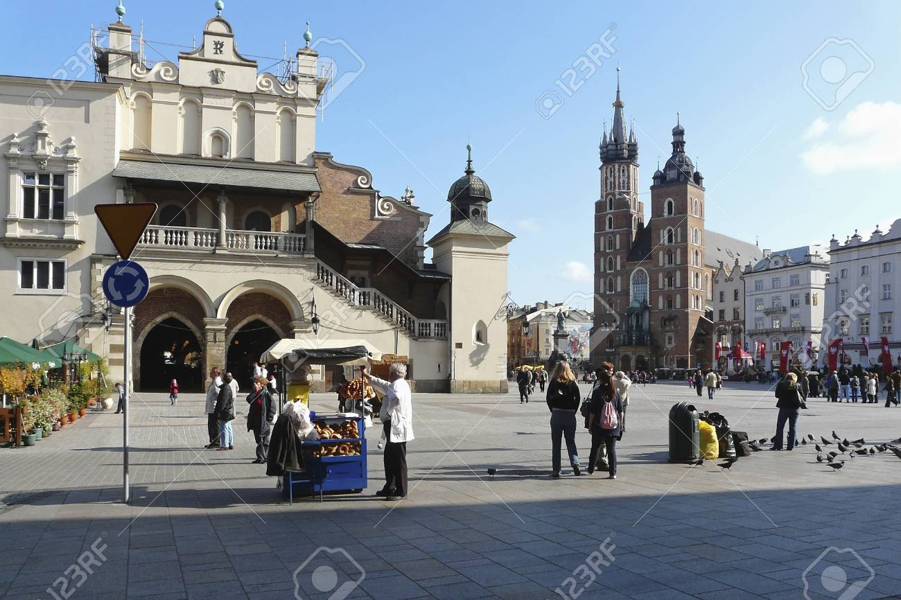 Market place with cloth hall and St. Marys church in Krakow in Poland Stock Photo - 11180175