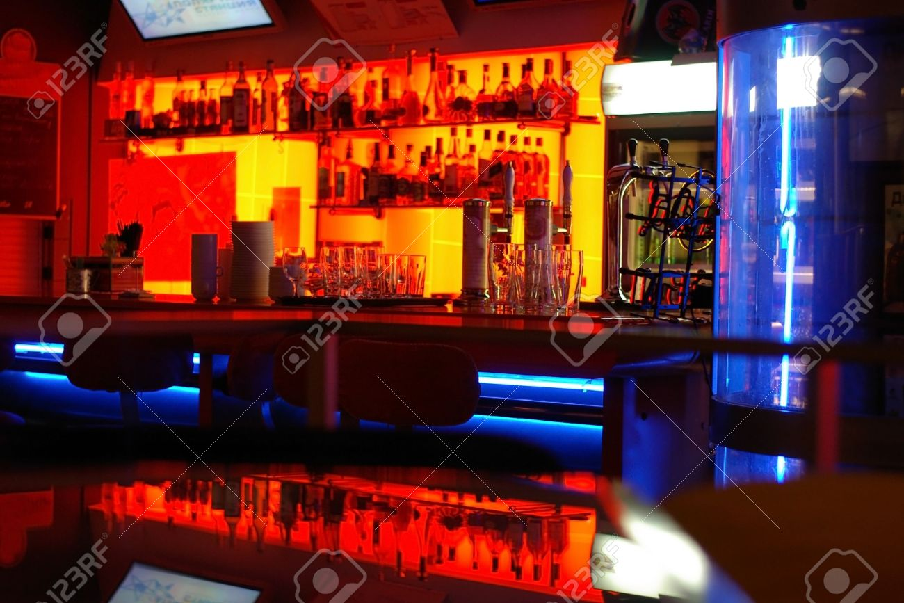 A Stylish Night Bar With Contemporary Decor Stock Photo, Picture And ...
