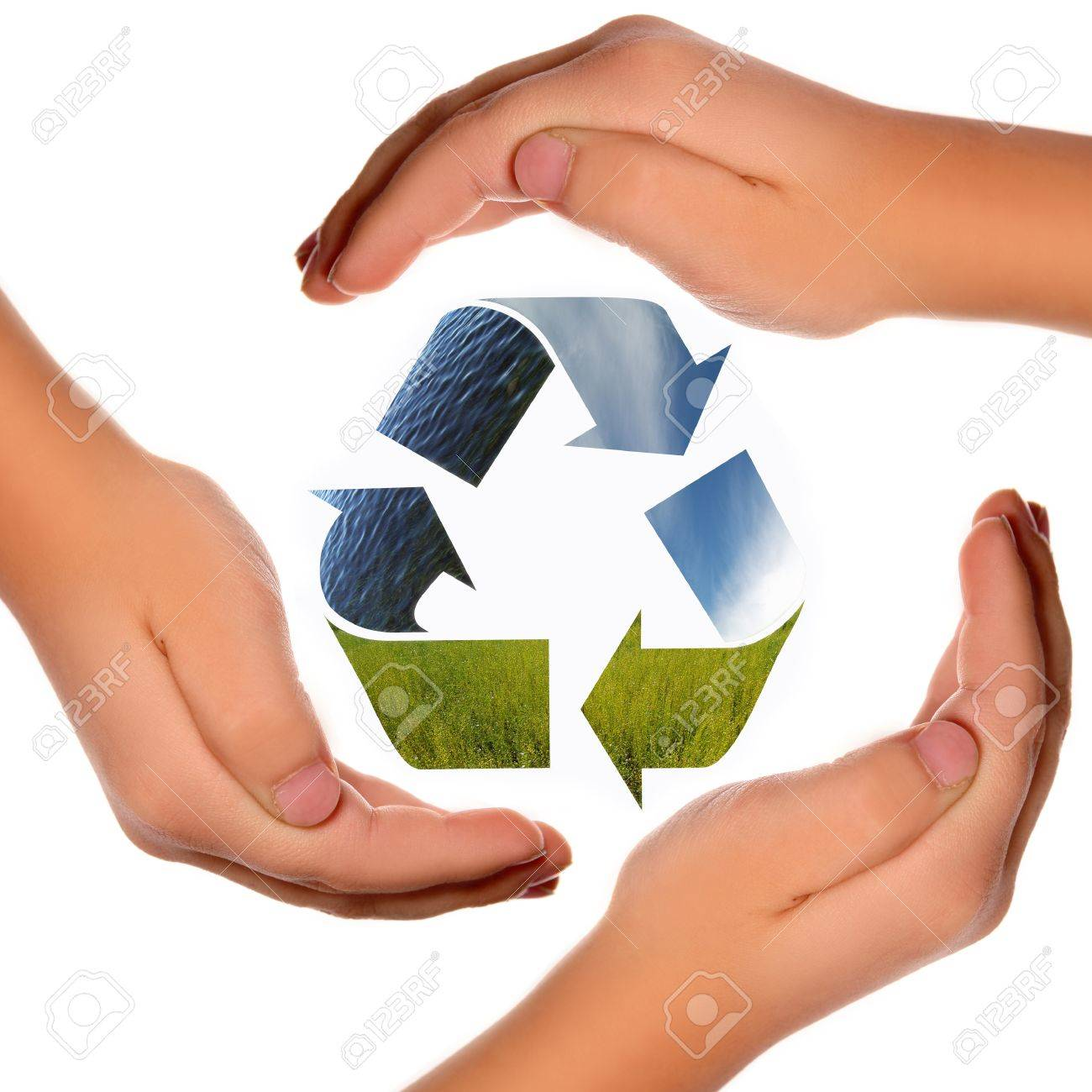 Three arrows of nature elements recycling symbol with hands stock three arrows of nature elements recycling symbol with hands stock photo 15728128 biocorpaavc Gallery