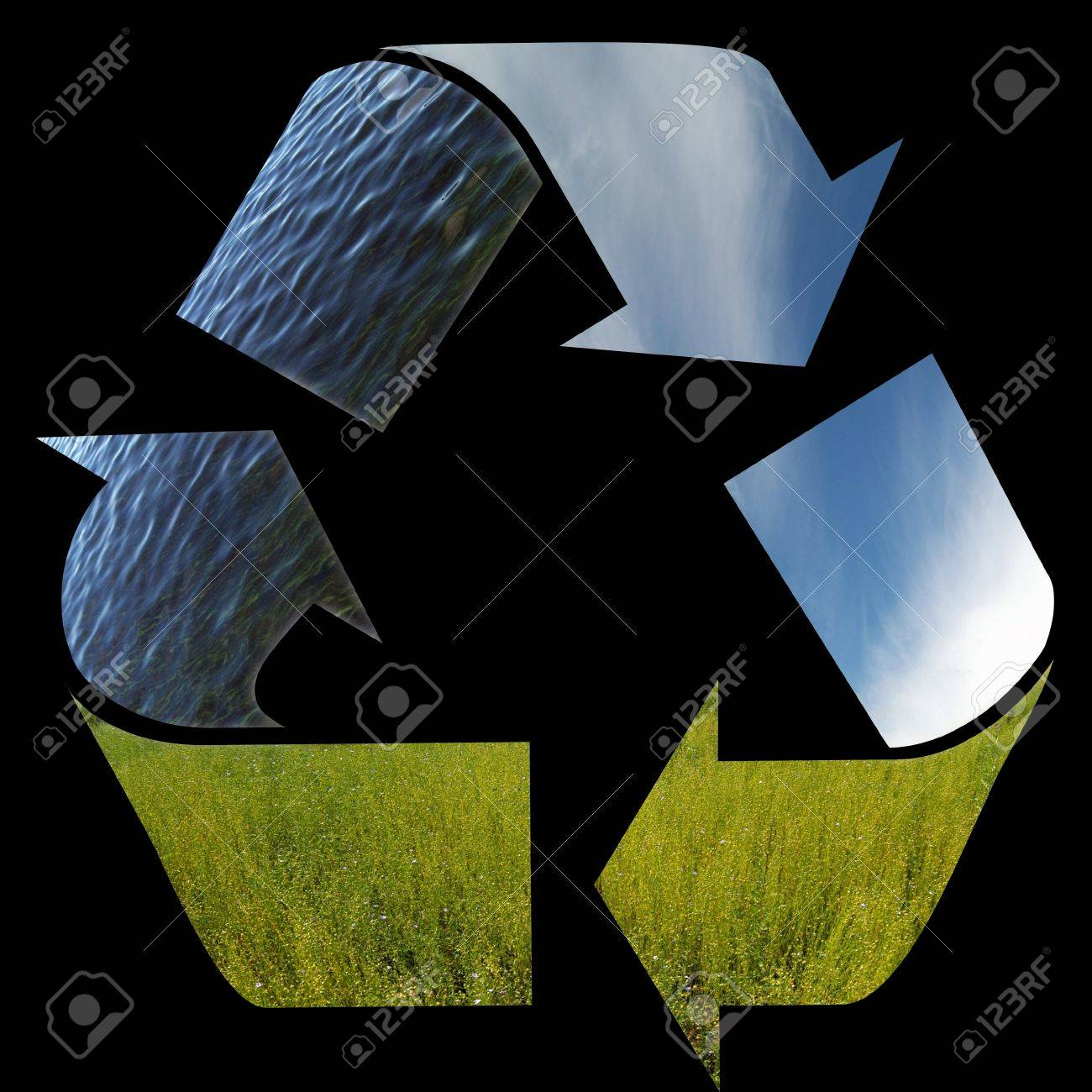 Three arrows of nature elements recycling symbol stock photo three arrows of nature elements recycling symbol stock photo 15729446 biocorpaavc Gallery