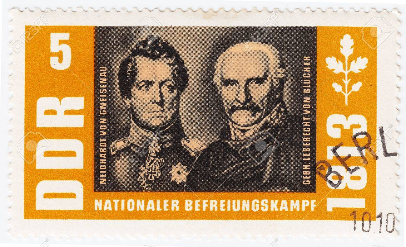 GERMANY- CIRCA 1963 : stamp printed in Germany shows military officer in Napoleon War 1813 Neidhardt Von Gneisenau (L) and Gebh Leberecht Von Blucher, circa 1963 Stock Photo - 15767984