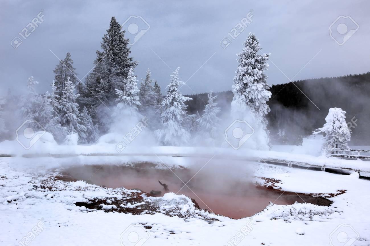 Winter Season At Hot Lake Of Yellowstone National Park
