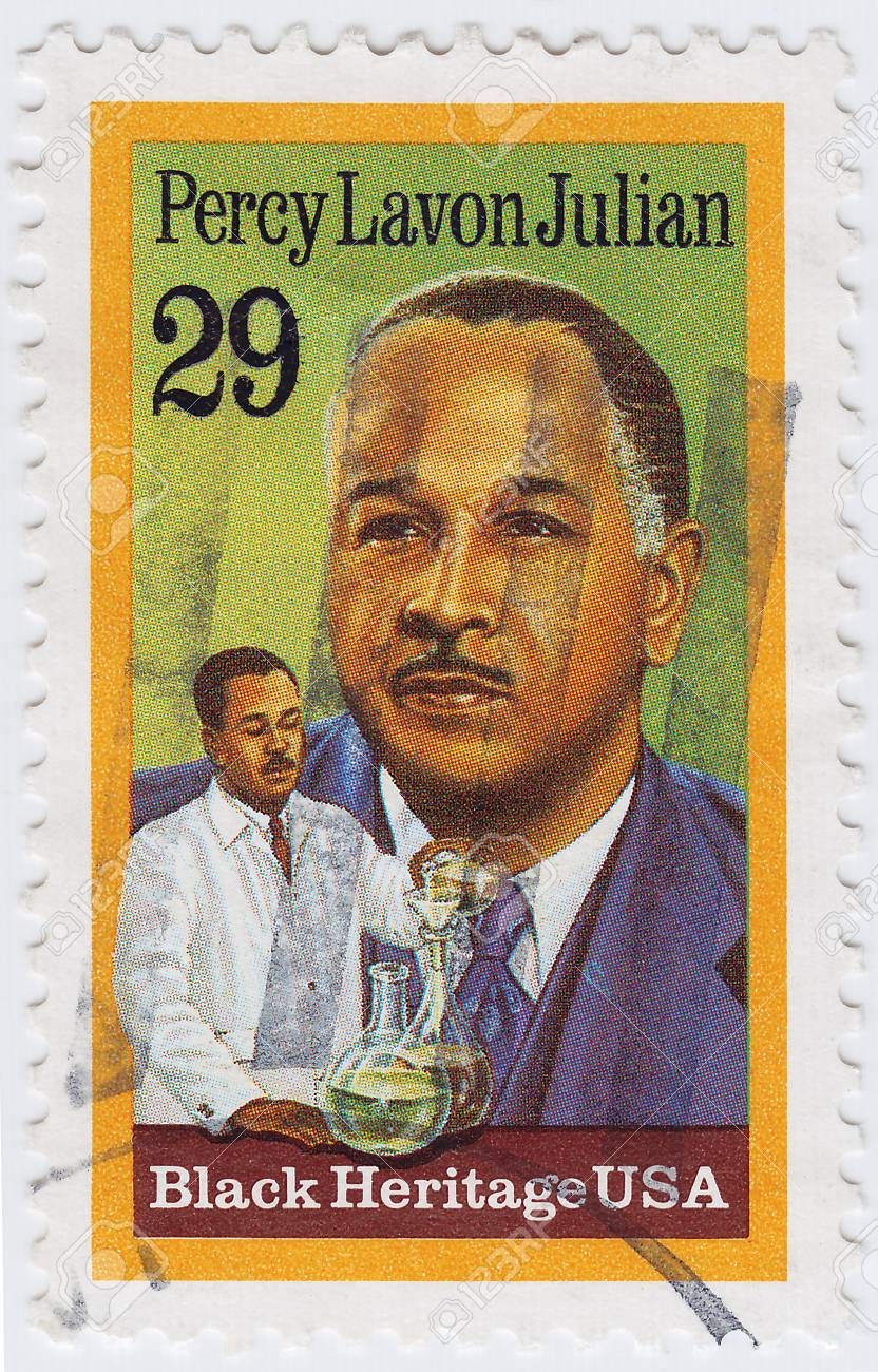 USA - CIRCA 1989 : stamp printed in USA shows Percy Lavon Julian an African American research chemis, circa 1989 Stock Photo - 15839073