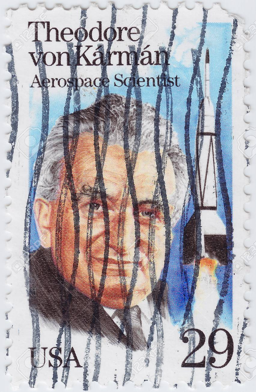 USA - CIRCA 1981 : stamp printed in USA shows Theodore von Karman was a Hungarian-American aerospace engineer and physicis, circa 1981 Stock Photo - 15854800