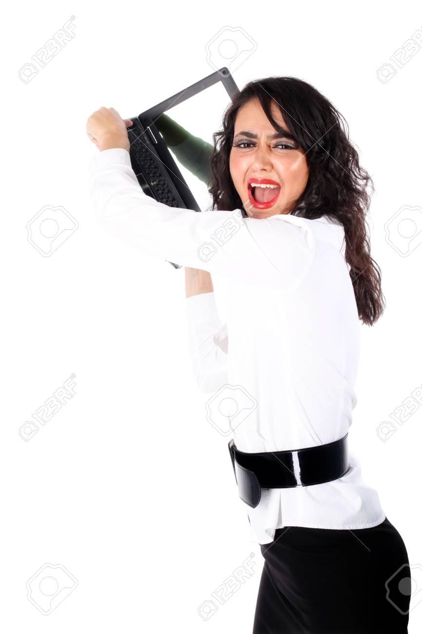 hard day - businesswoman crushing PC isolated on white Stock Photo - 15858098
