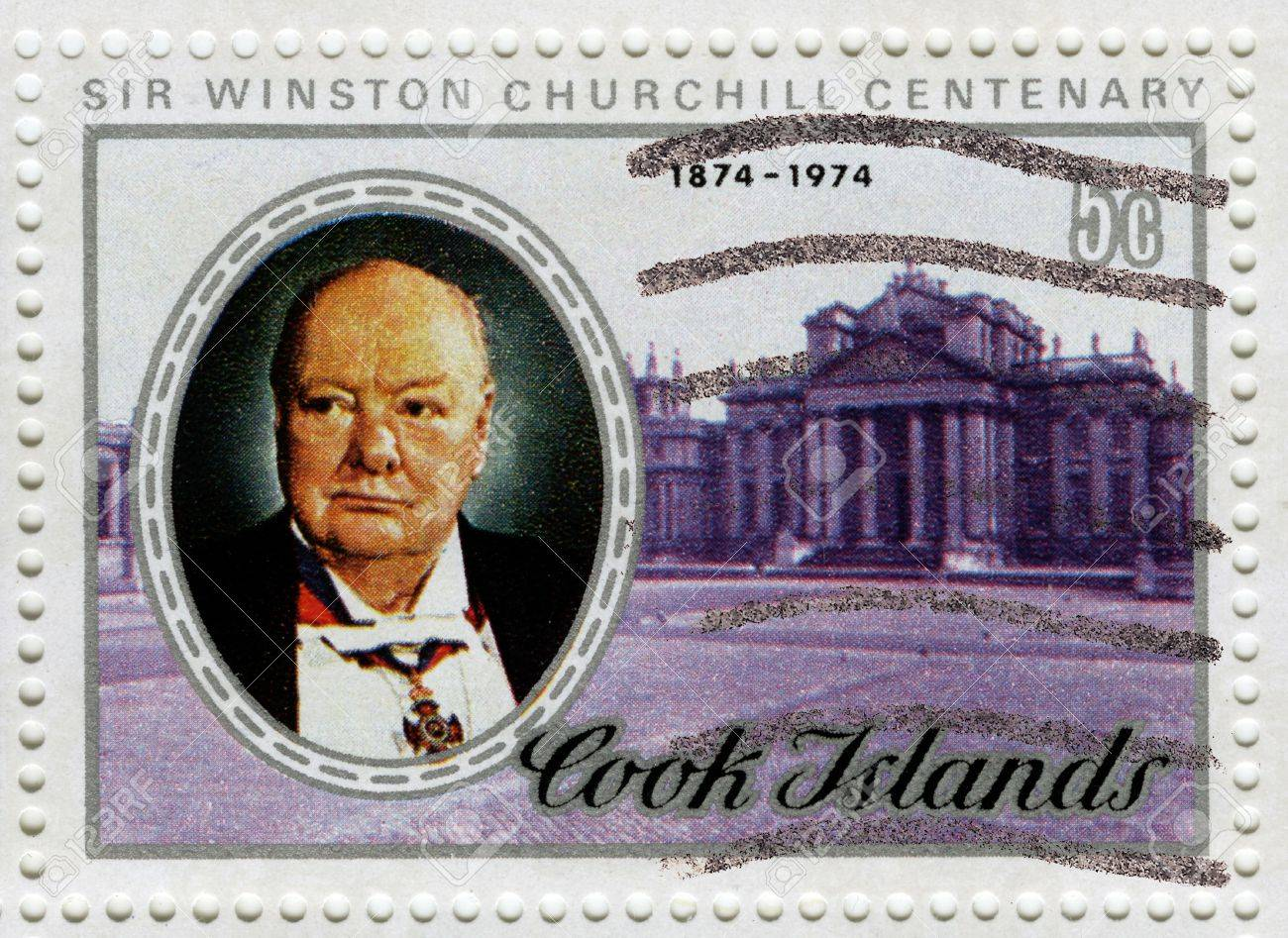 COOK ISLANDS - CIRCA 1974 : Stamp printed in Cook Islands of Centenary Winston Churchill great prime minister in UK, circa 1974  Stock Photo - 15927477