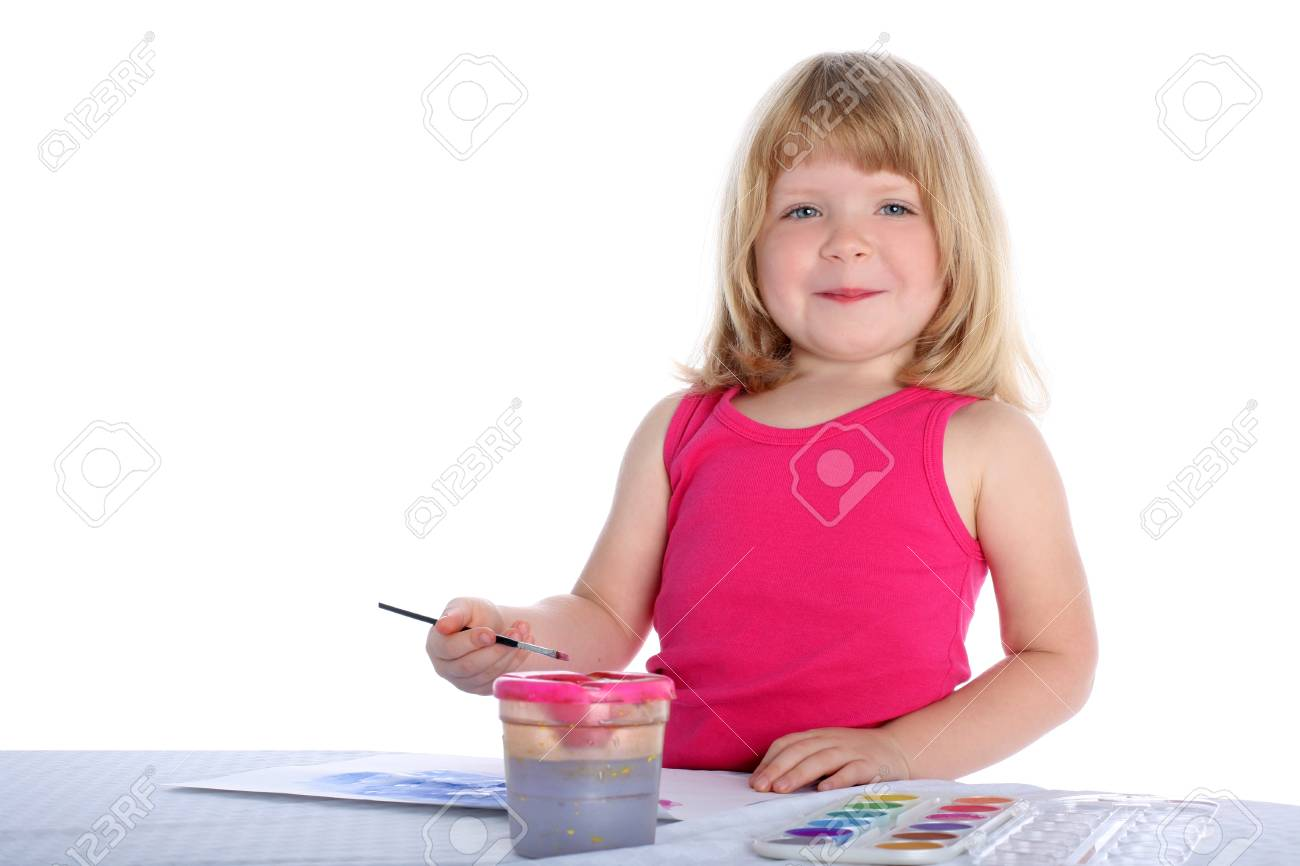 girl with paint beside table isolated on white Stock Photo - 15942224