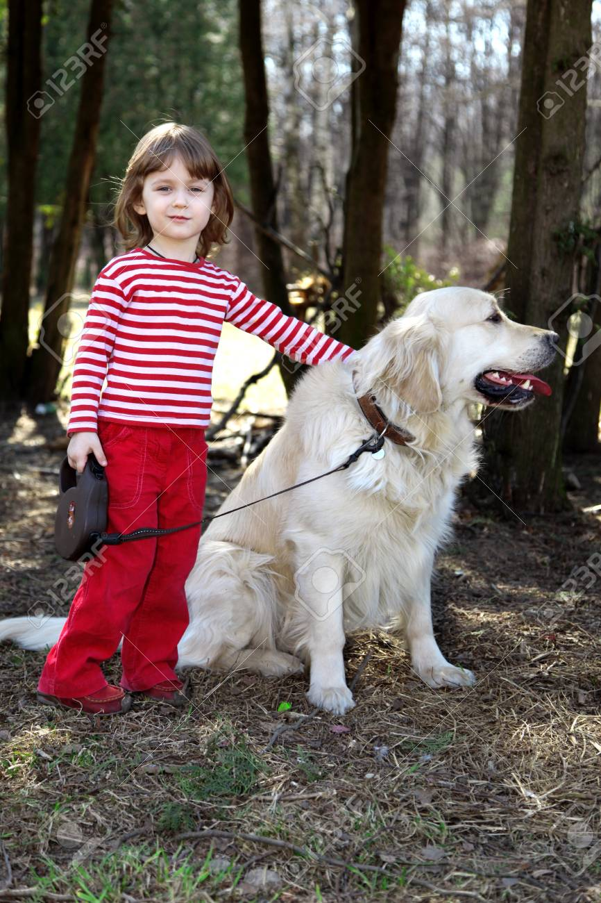 friends - little girl with big retriever outdoor Stock Photo - 15980551
