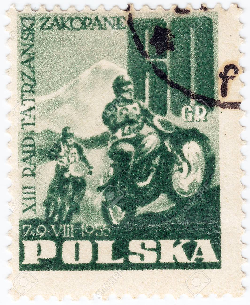POLAND - CIRCA 1955: A stamp printed in Poland shows motocross, circa 1955 Stock Photo - 16239966