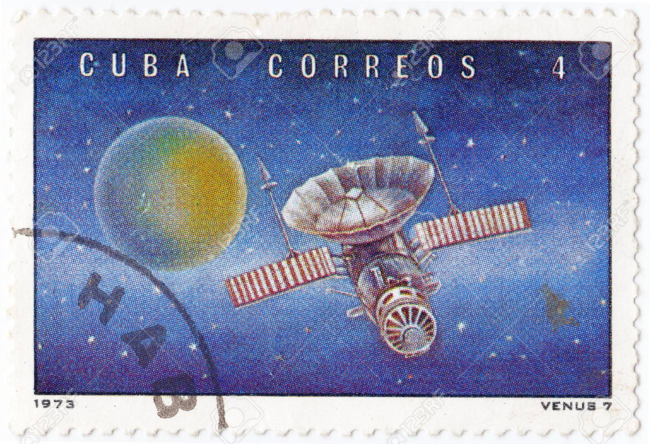 CUBA - CIRCA 1973 : stamp printed in Cuba shows the soviet Venus space station, circa 1973 Stock Photo - 16284266