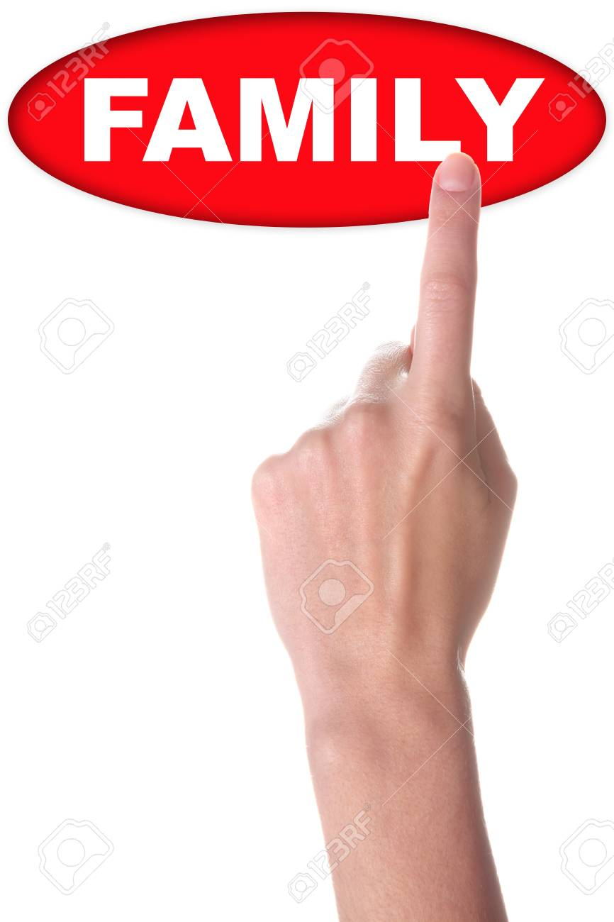 hand with big red button isolated on white Stock Photo - 16289263