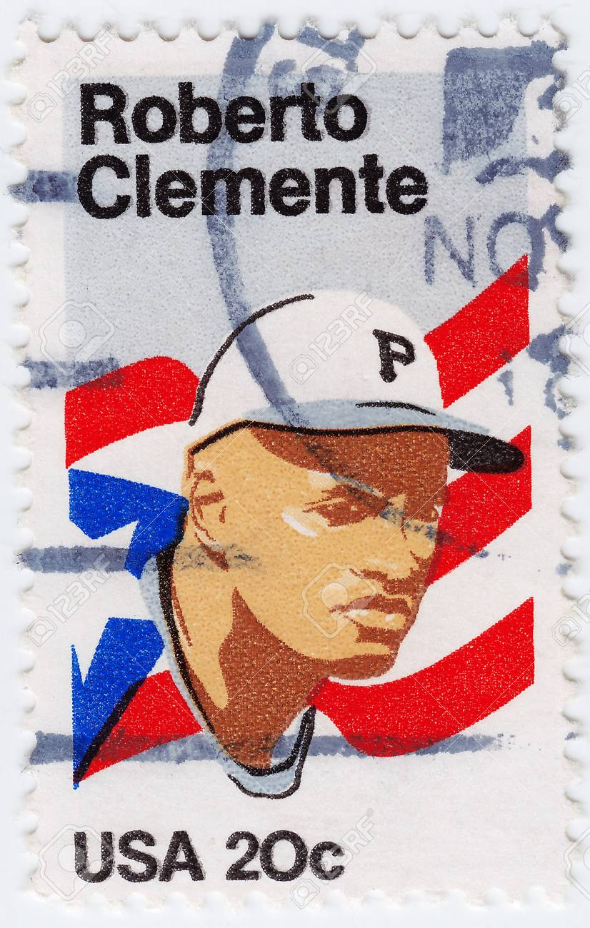 USA - CIRCA 1972 : stamp printed in USA shows Roberto Clemente Walker Puerto Rican Major League Baseball right fielder, circa 1972 Stock Photo - 16284353