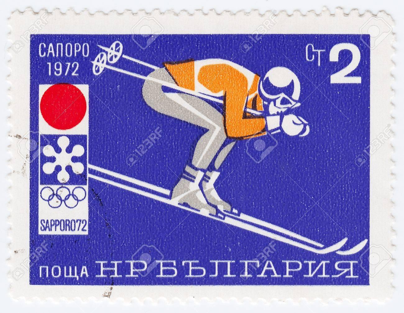 BULGARIA - CIRCA 1972: stamp printed in Bulgaria shows ski jumper in winter games in Sapporo, Japan, circa 1972 Stock Photo - 16362470