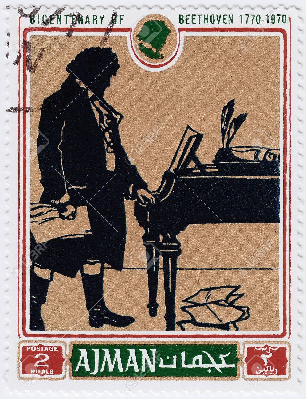AJMAN - CIRCA 1970 : stamp printed in Ajman shows a portrait of Ludwig van Beethoven,  circa 1970 Stock Photo - 16376457