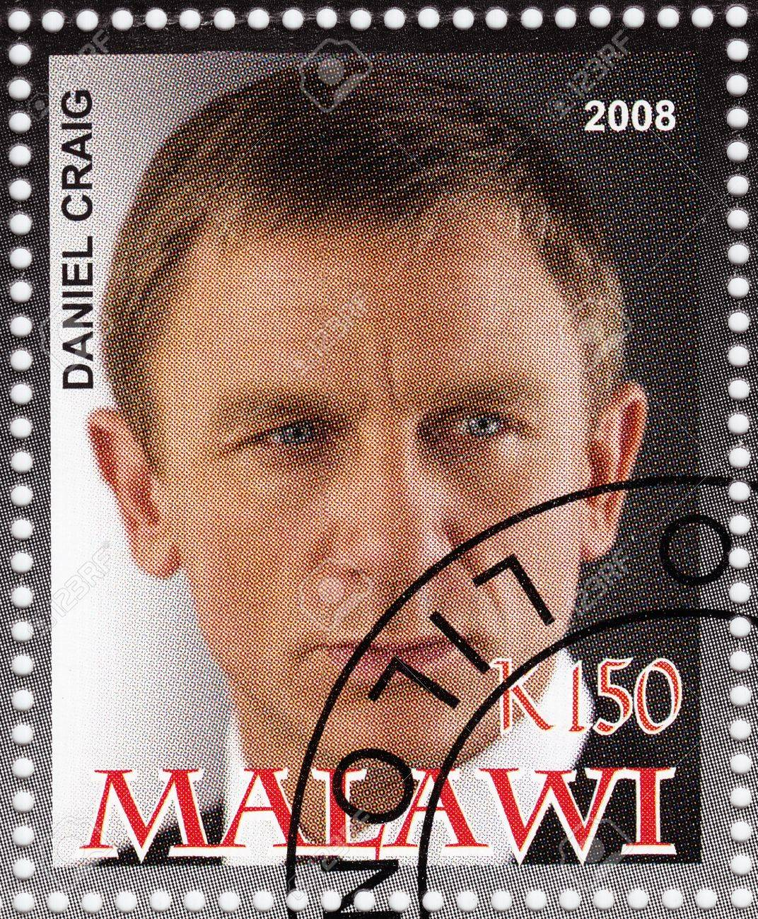 MALAWI - CIRCA 2008  stamp printed in Malawi with Daniel Craig - English actor and film producer,sixth actor to portray the fictional secret agent James Bond, circa 2008 Stock Photo - 16586030
