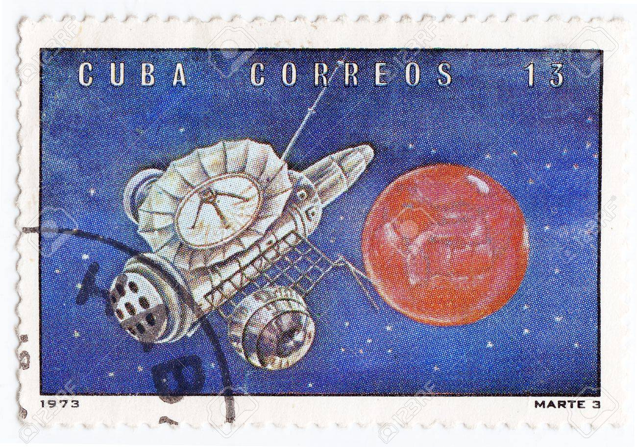 CUBA - CIRCA 1973 : stamp printed in Cuba shows the soviet Mars space station, circa 1973 Stock Photo - 16586017