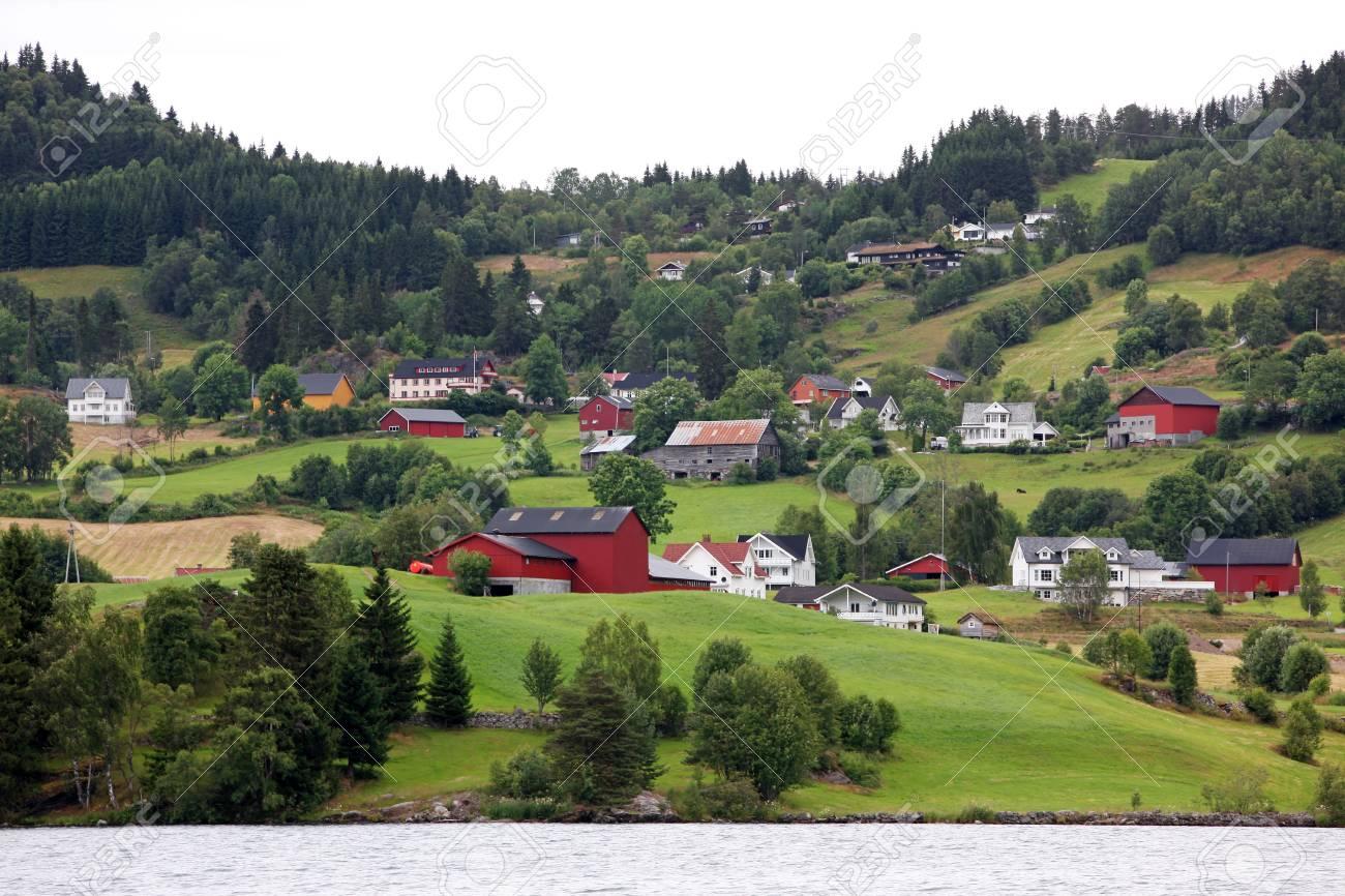 Rural Norway - Hafslo village at lakes Hafslovatn Stock Photo - 19157240