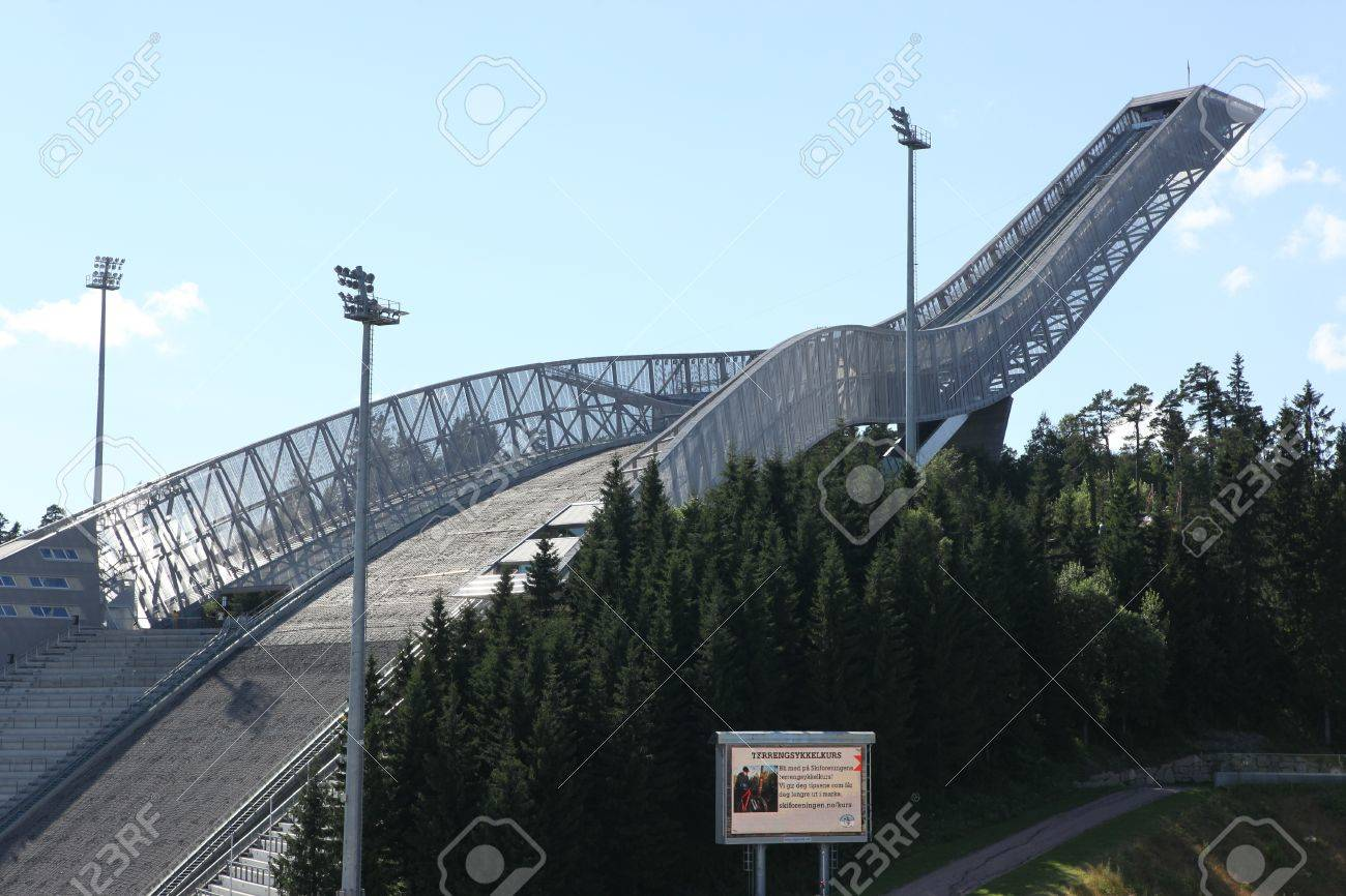 OSLO, JULY 26: Holmenkollen ski jump hill Oslo, Norway on July 26, 2012. The hill record is unofficially held by Anders Jacobsen at 142.5 meters Stock Photo - 22056366