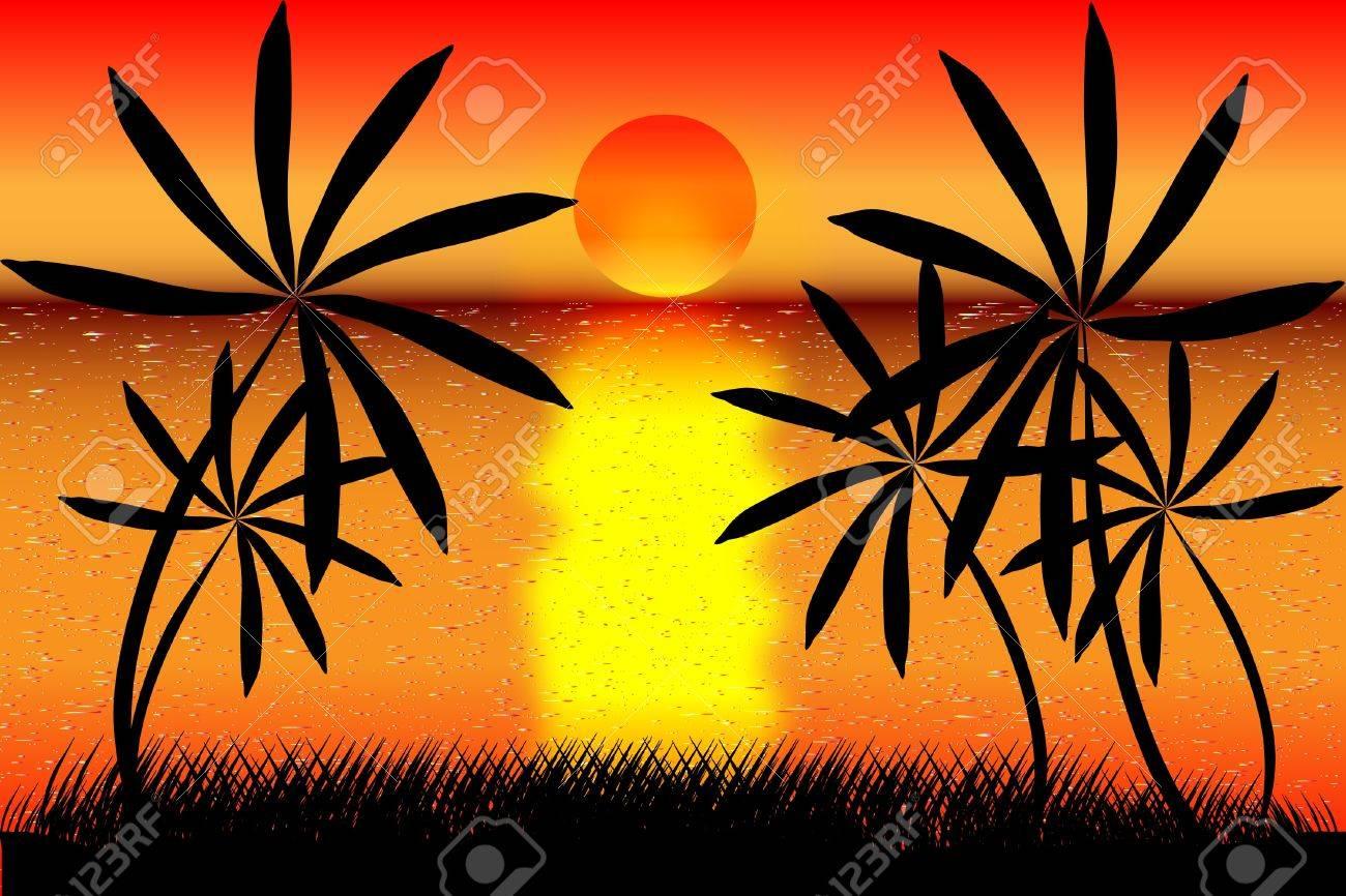 Tropical beach sunset Stock Vector - 9917535