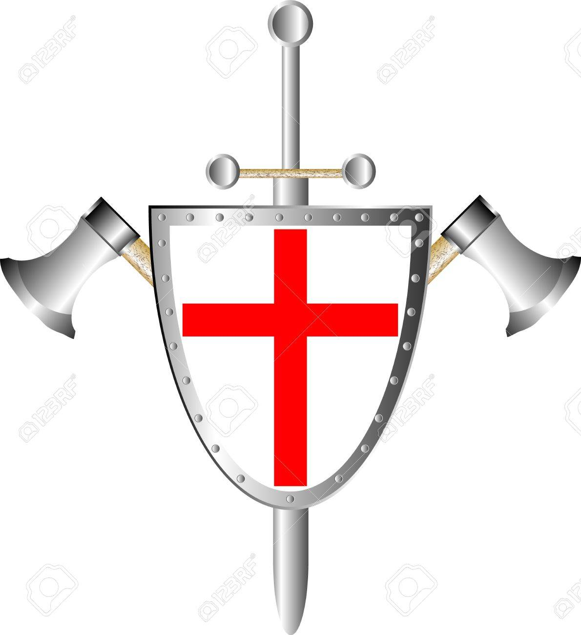 Battle shield with axes and sword final isolated on white Stock Vector - 10228779