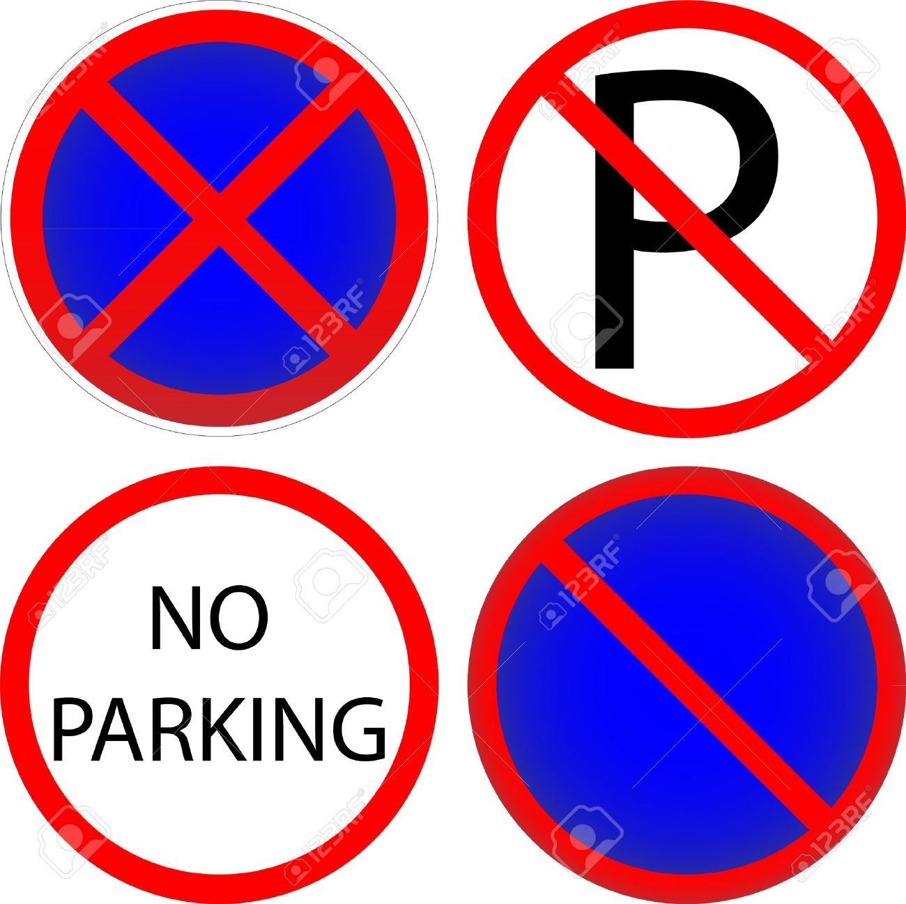 Set of variants a No parking - road sign isolated on white background. Stock Vector - 10380788