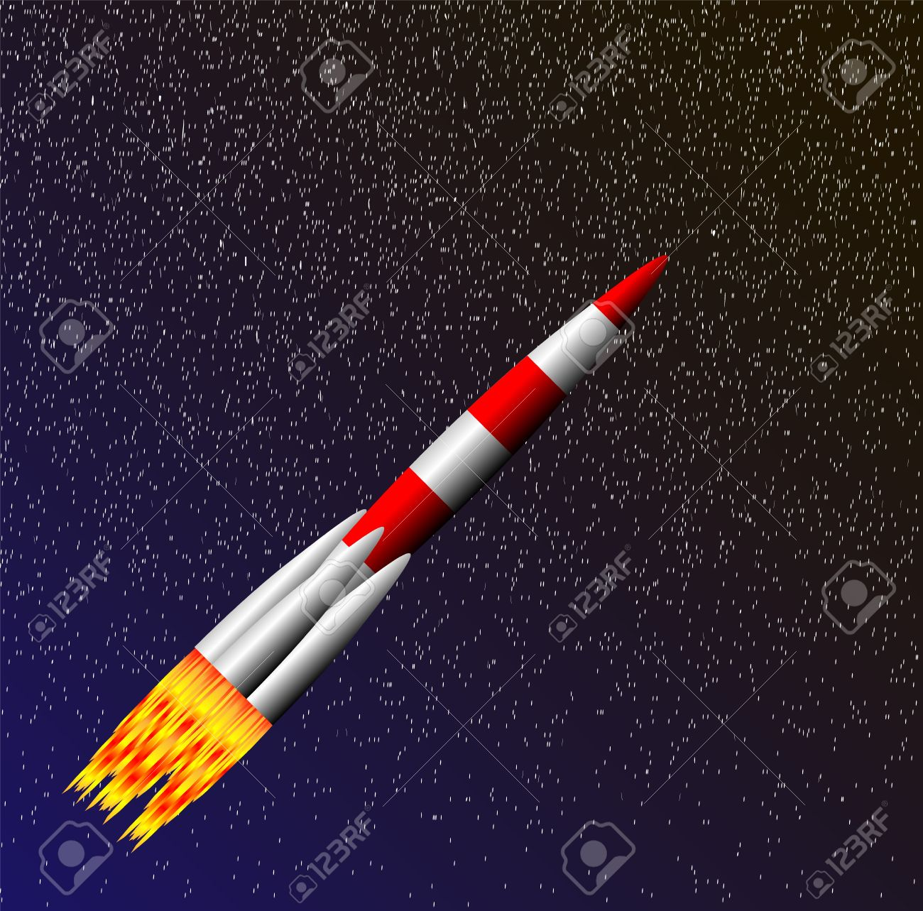 stylized vector illustration of rocket ship in space royalty free