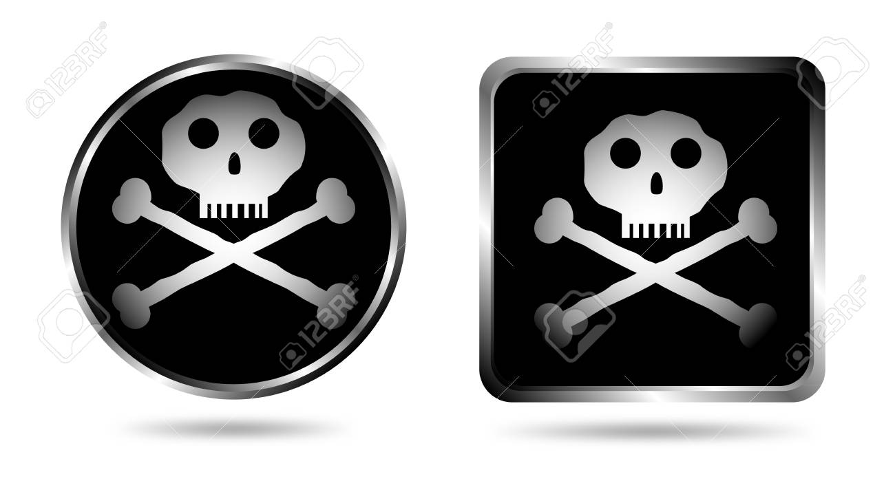 Two buttons with Jolly roger isolated on white background Stock Vector - 10831030