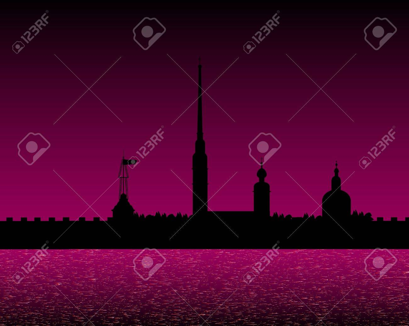 Silhouette of the Peter and Paul Cathedral at night, St.Petersburg Stock Vector - 10903716