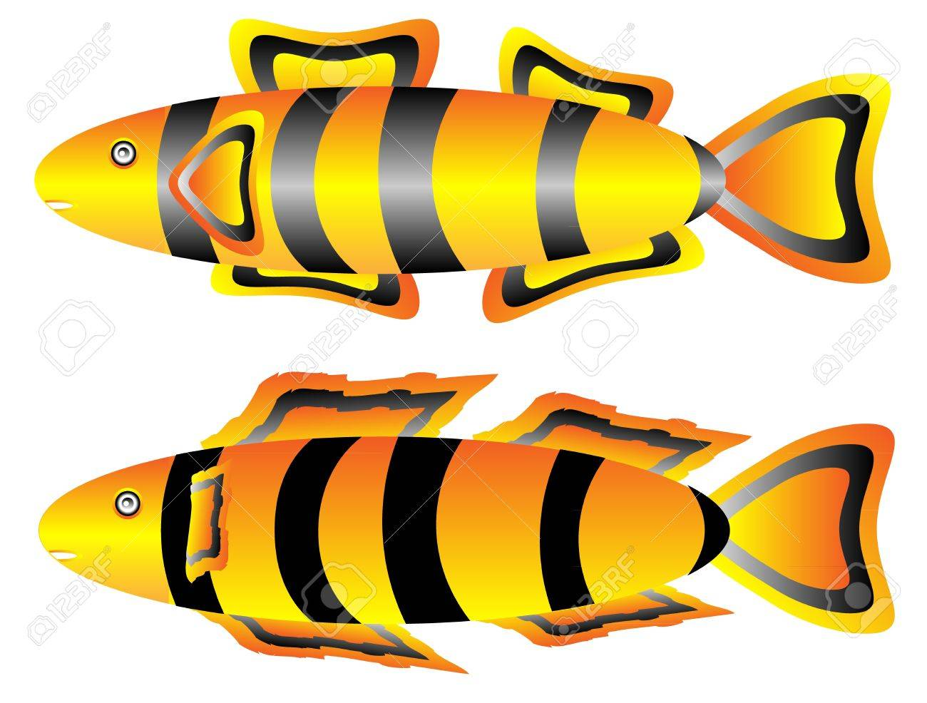 Tropical fish set isolated on white background Stock Vector - 10991131