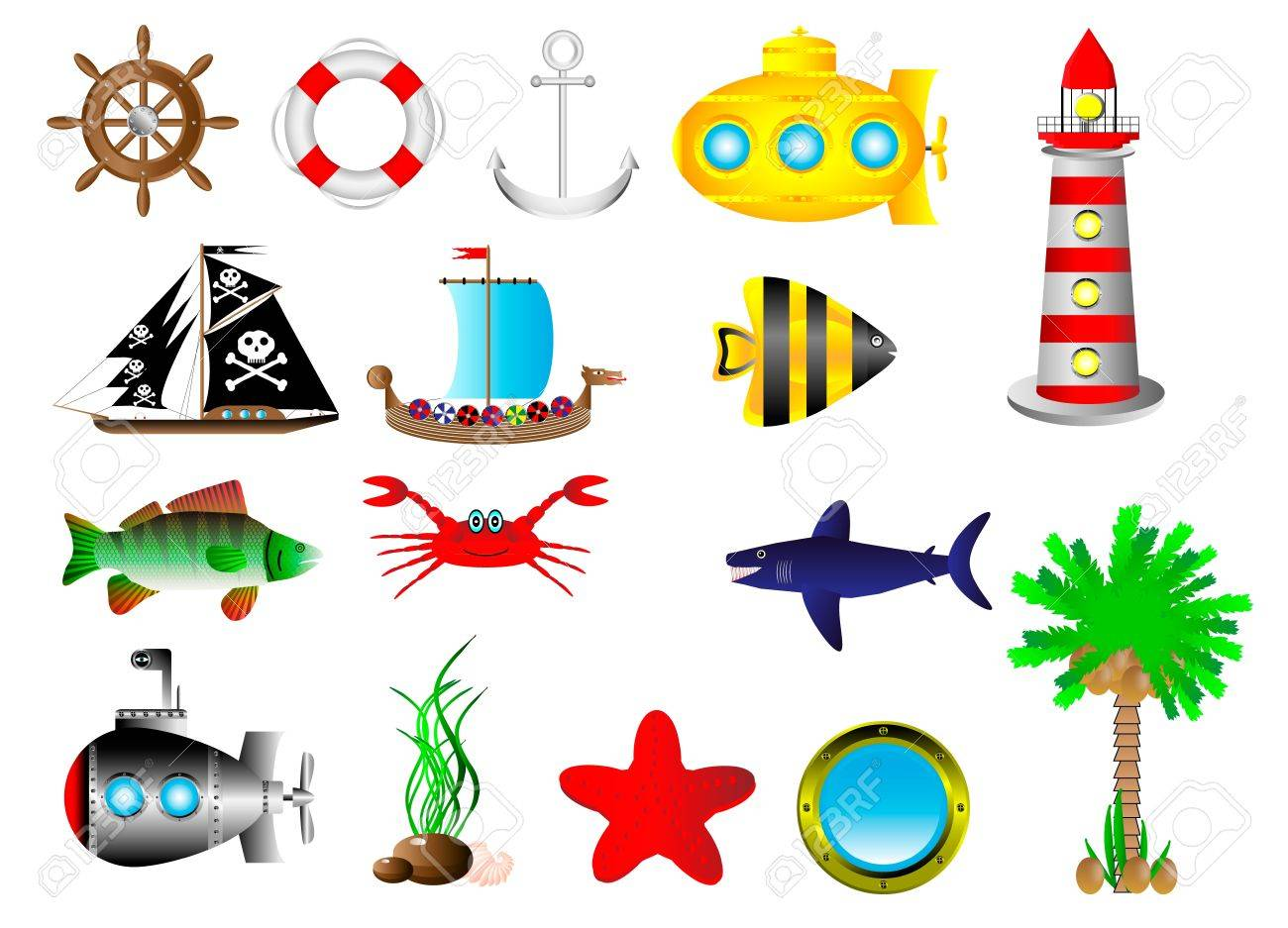 Set sea icon isolated on white background Stock Vector - 10991183