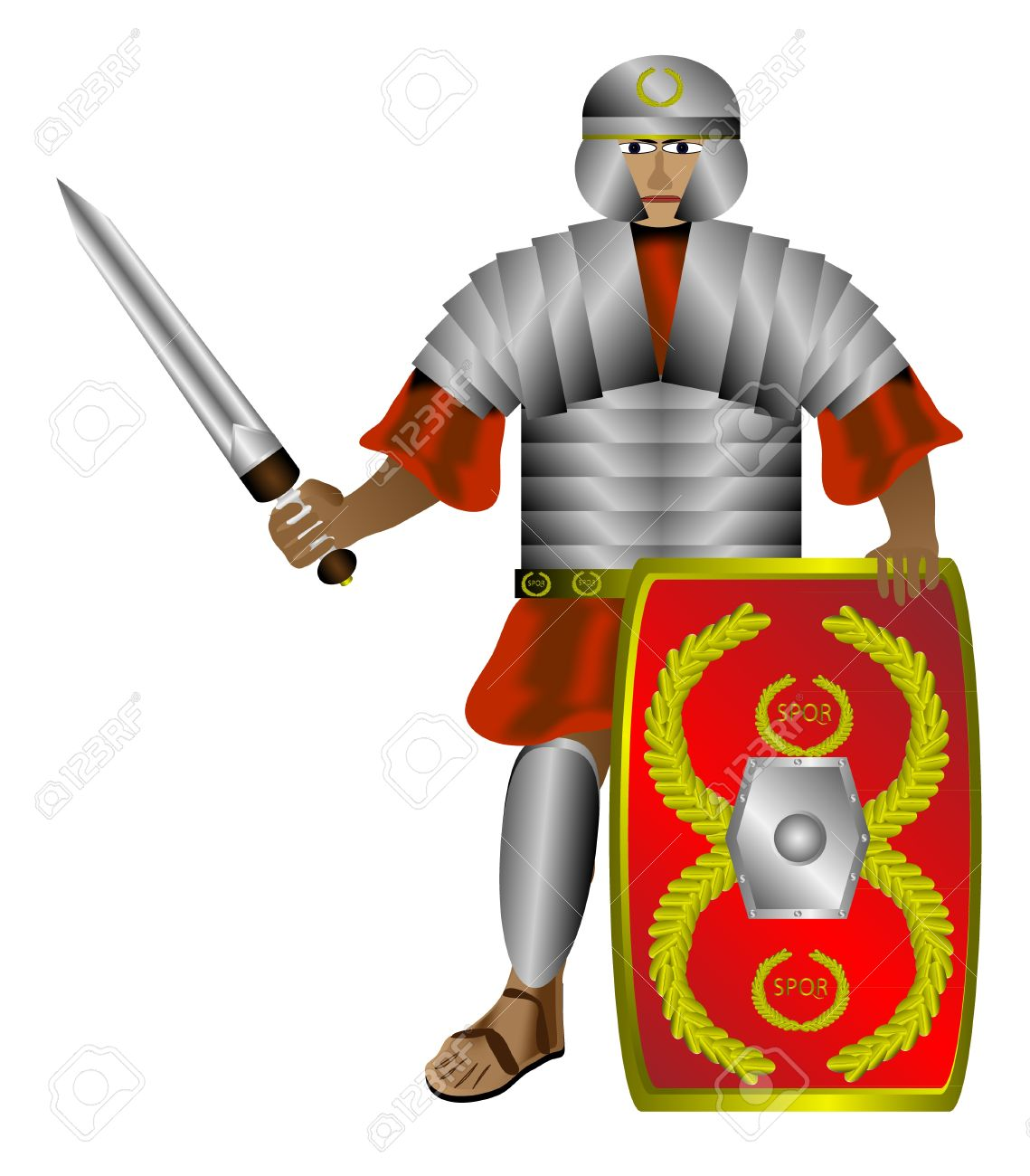 Legionnaire (roman soldier) with shield and sword isolated on white background Stock Vector - 10991192