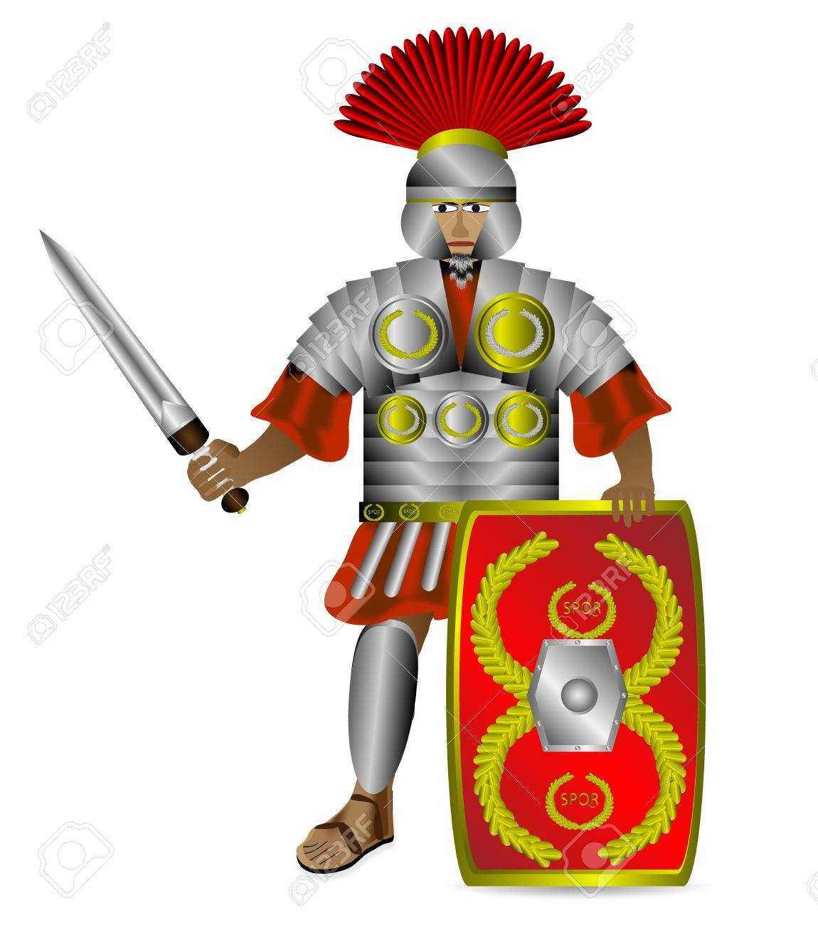 Roman centurion with shield and sword isolated on white background Stock Vector - 10991196