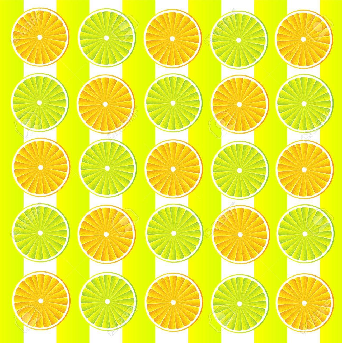 オレンジとレモンのスライスのシトラス フルーツ壁紙 ベクトルのイラスト素材 ベクタ Image