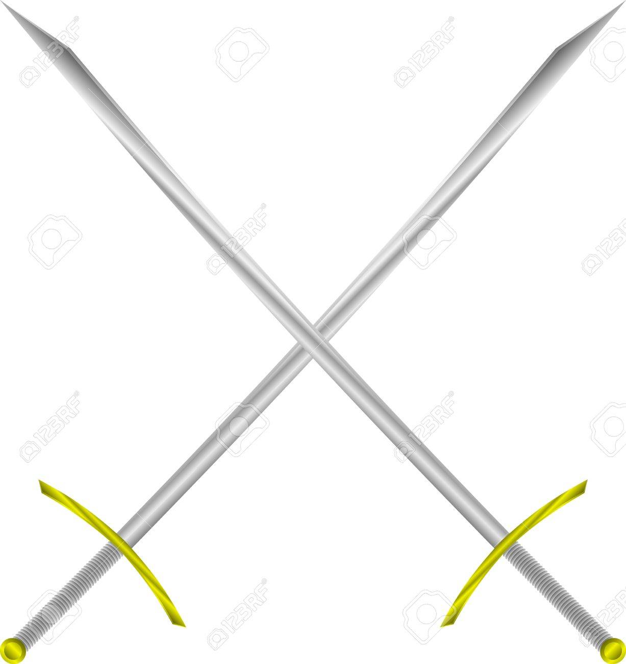 Two crossed swords isolated on white background - vector illustration Stock Vector - 11087126