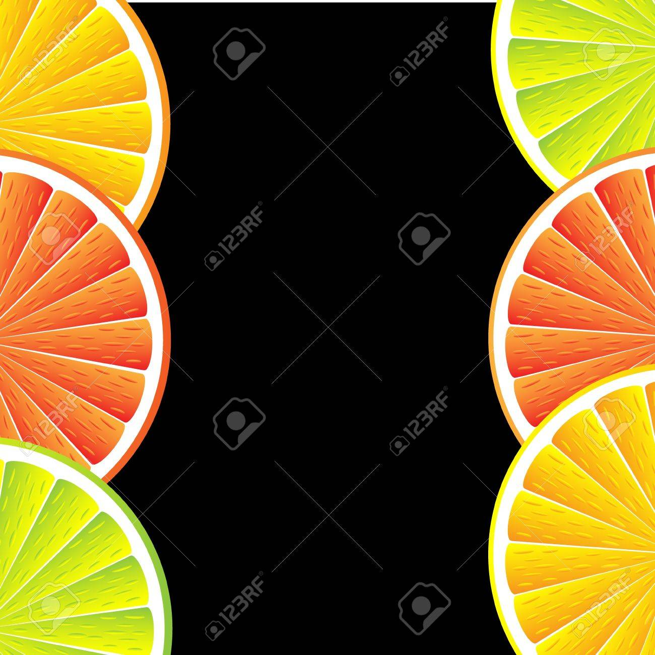 Citrus background with slices of lemon, grapefruit and orange. Vector stylized background. Stock Vector - 11087203
