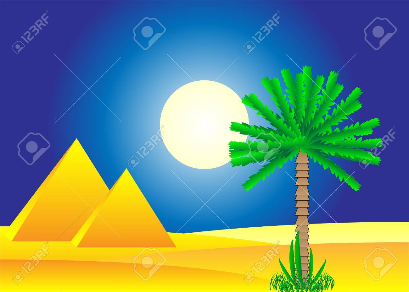 Sahara desert with egyptian pyramids by day - vector illustration. Stock Vector - 11087194