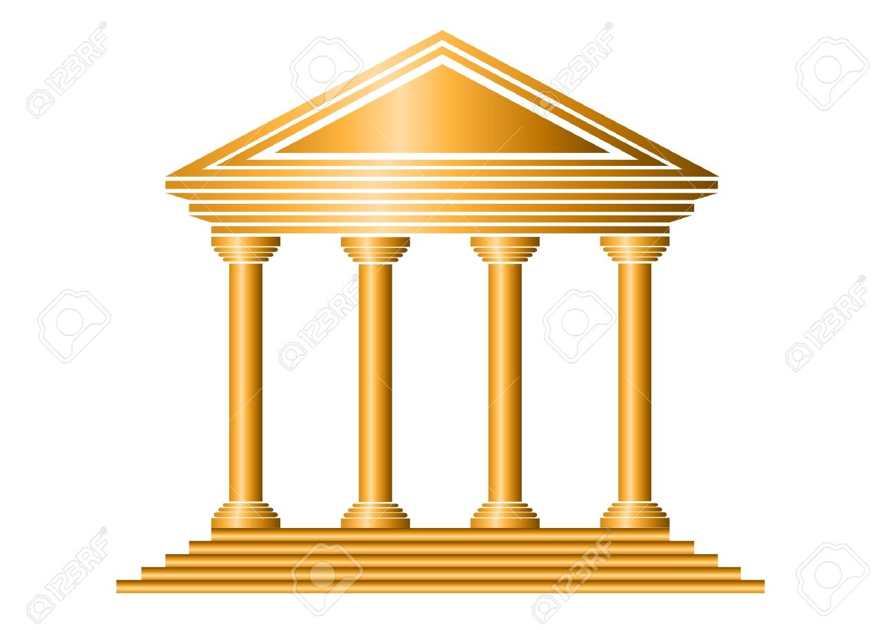 Gold bank icon on white background - vector Stock Vector - 11237018