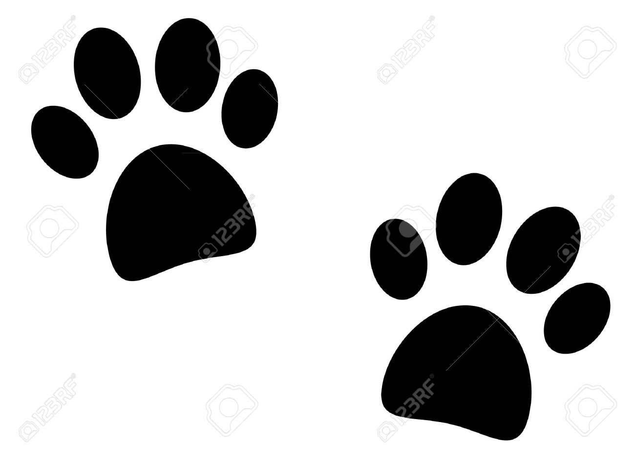 black paw print on white background vector royalty free cliparts rh 123rf com paw print vector free download paw print vector file