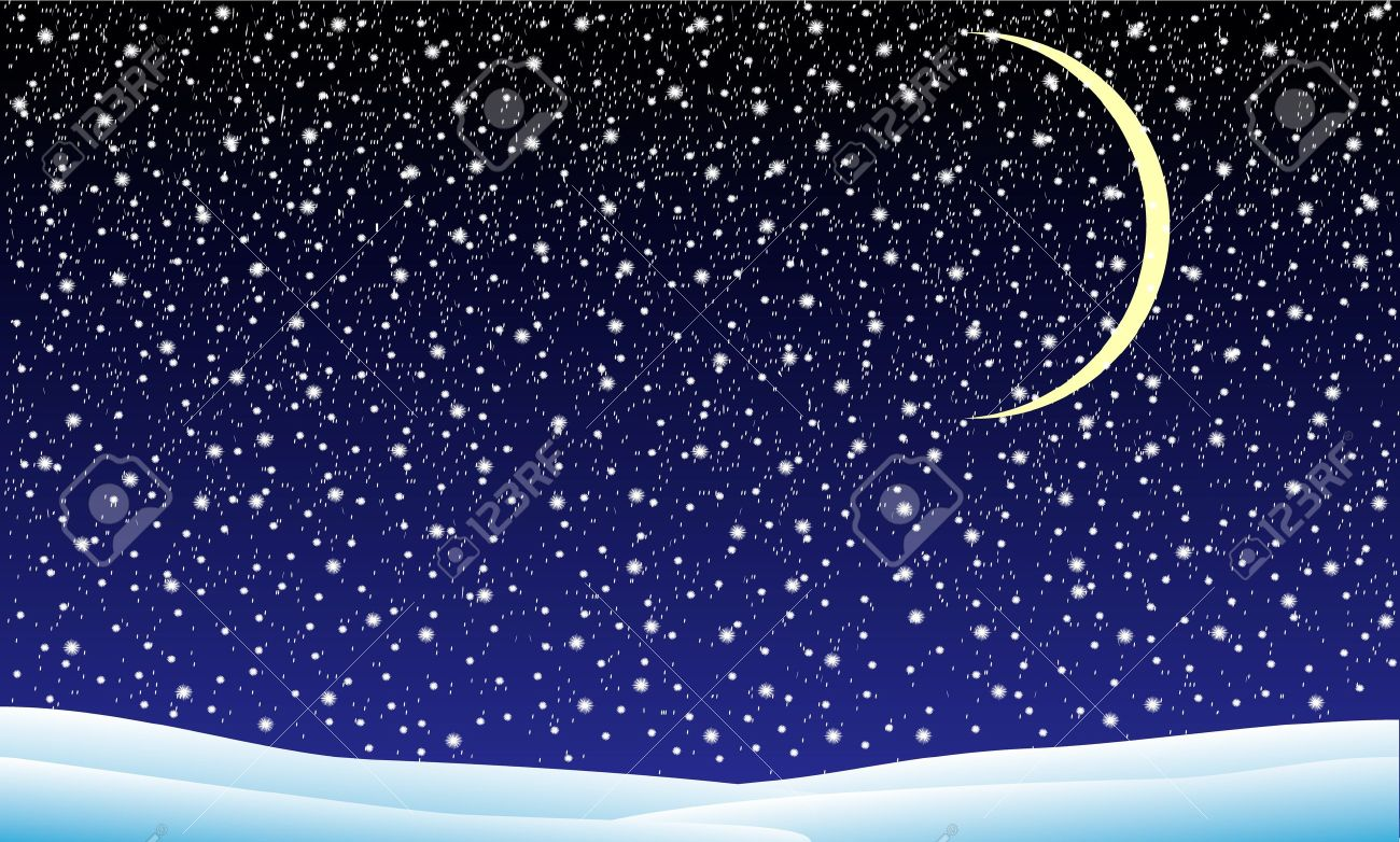 Winter landscape with falling snow at night- illustration Stock Vector - 11341872