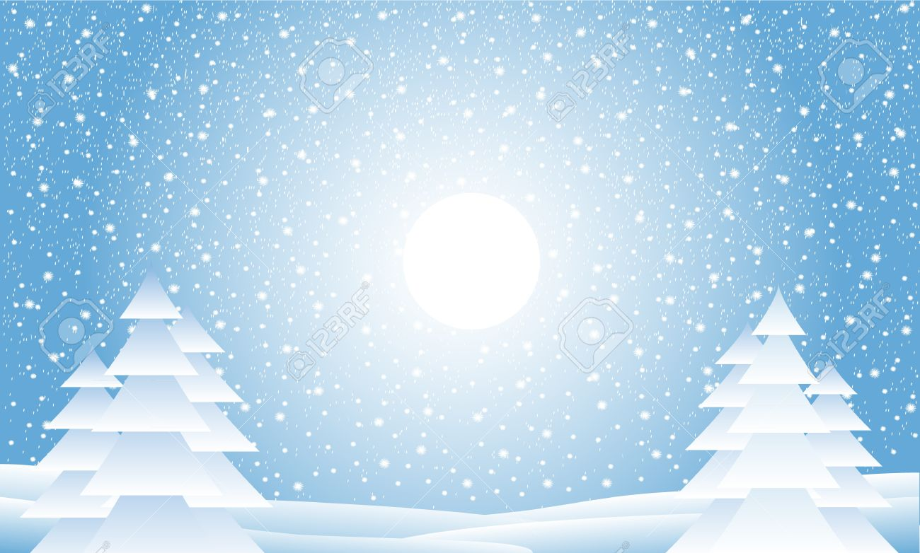 Winter landscape with falling snow - illustration Stock Vector - 11341875