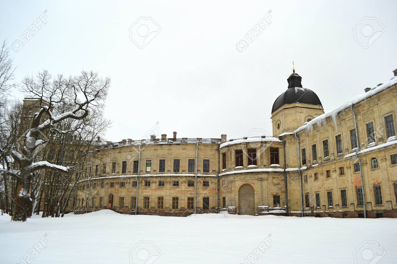 A fragment of the Big Gatchina palace at winter, Gatchina, Russia