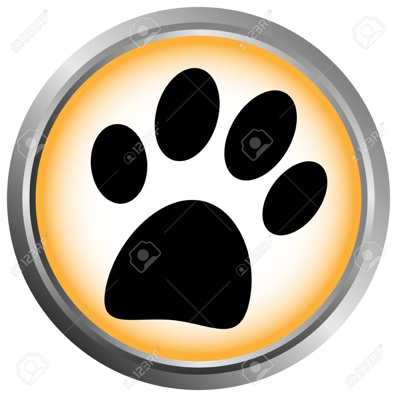 Paw button on white background Stock Vector - 11471517