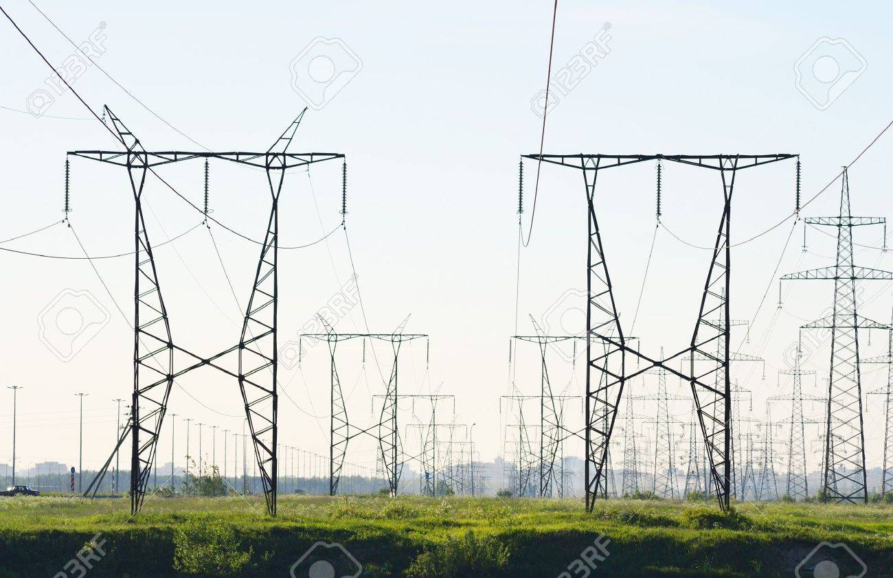 View of electricity pylons on a sunny day Stock Photo - 11760807