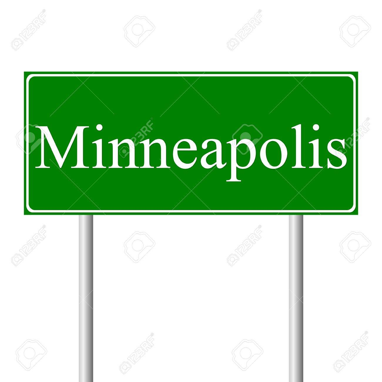 Minneapolis green road sign isolated on white background Stock Vector - 11760872