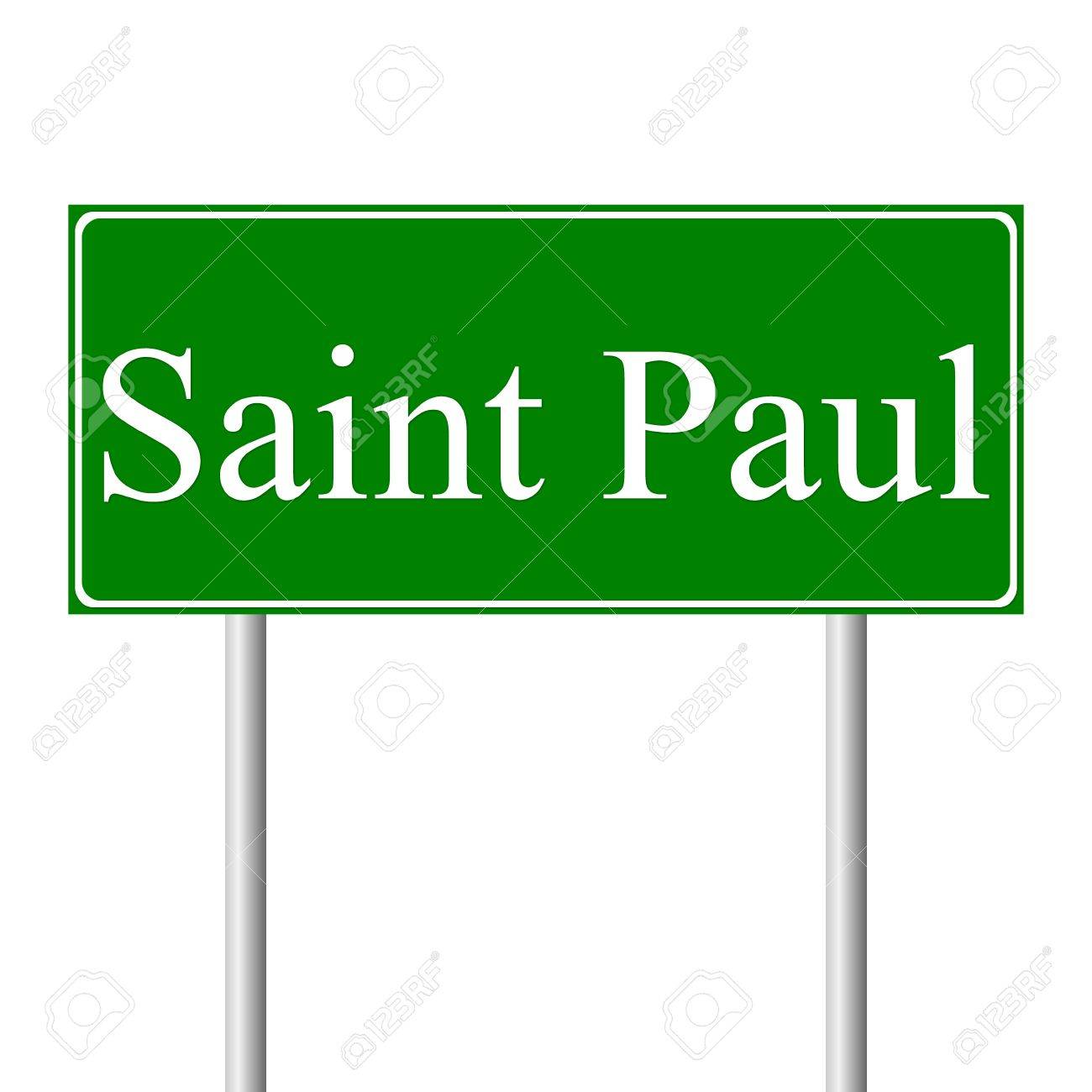 new products reliable quality sells Saint Paul green road sign isolated on white background